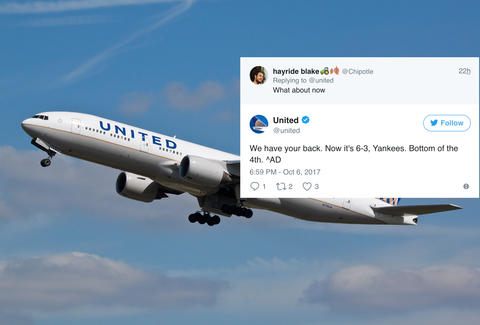united airlines tweets score of baseball game to fan with bad wifi