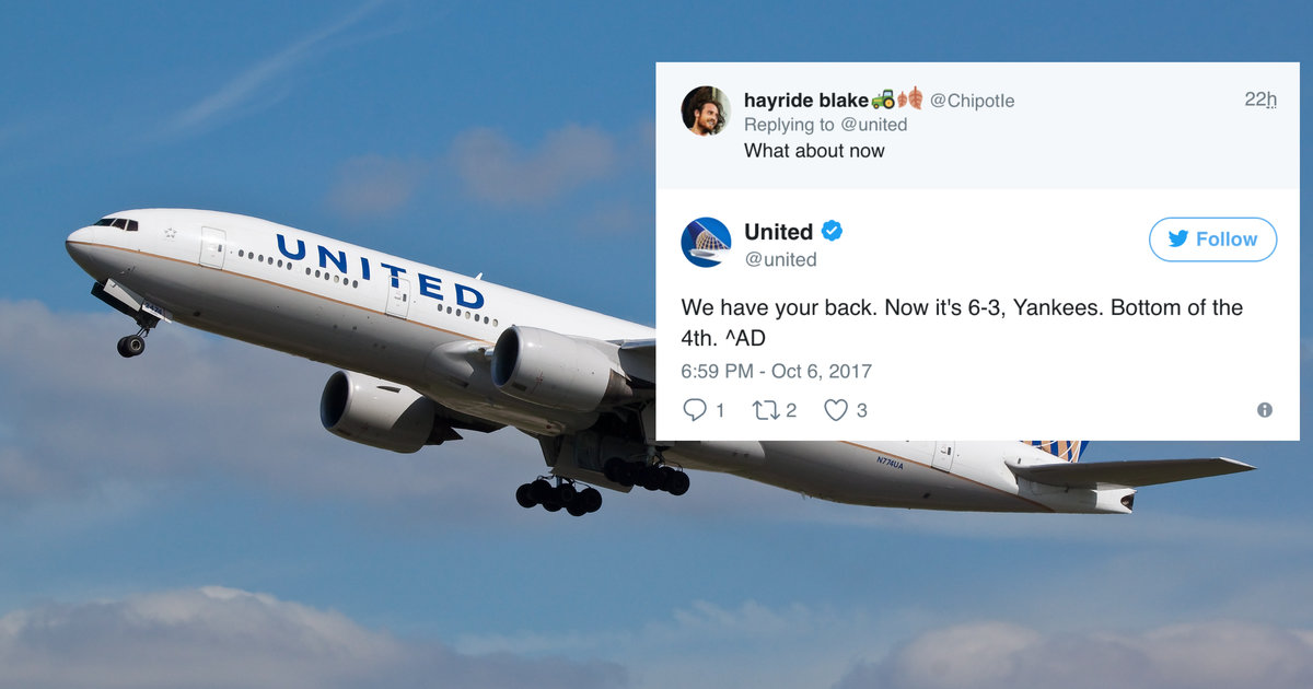 United Airlines Tweets Score of Baseball Game to Fan With