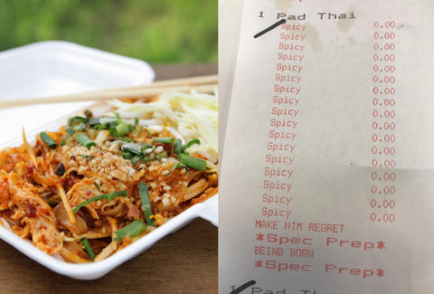 spicy pad thai receipt