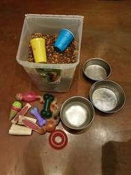 Box with dog food, bowls and toys