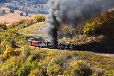 a train chugging along by a hill covered in fall trees