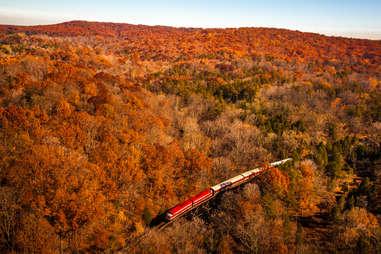 a bird's eye view of a train chugging through autumn hills