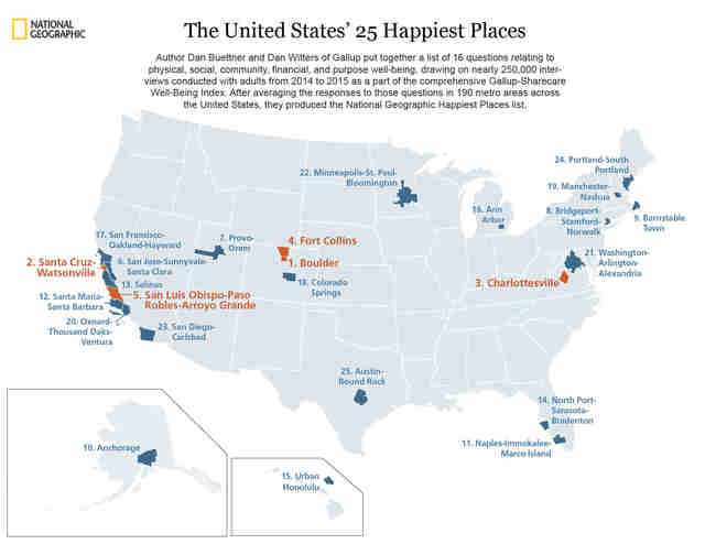 happiest cities in America