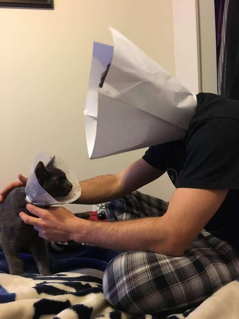 guy makes himself cone of shame