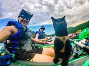 Adventure cat on boat