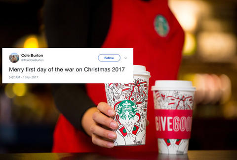 starbucks holiday cups reactions twitter reacts to new design