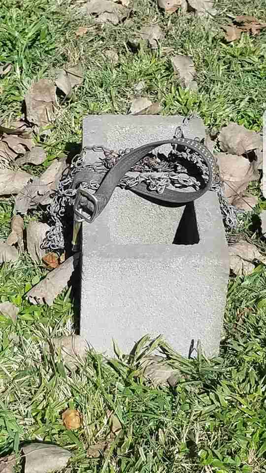 The cinderblock that Buster the dog was chained to