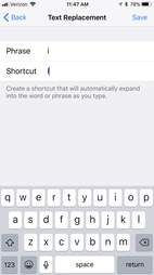 ios 11 text replacement trick