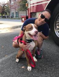 Firefighter posing with shelter dog in front of firetruck
