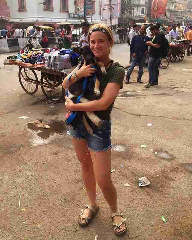 Tourist saving stray puppy in New Delhi, India