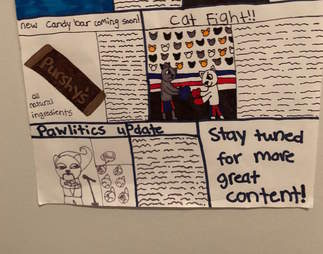 kids make newsletter for cat to read on the litterbox