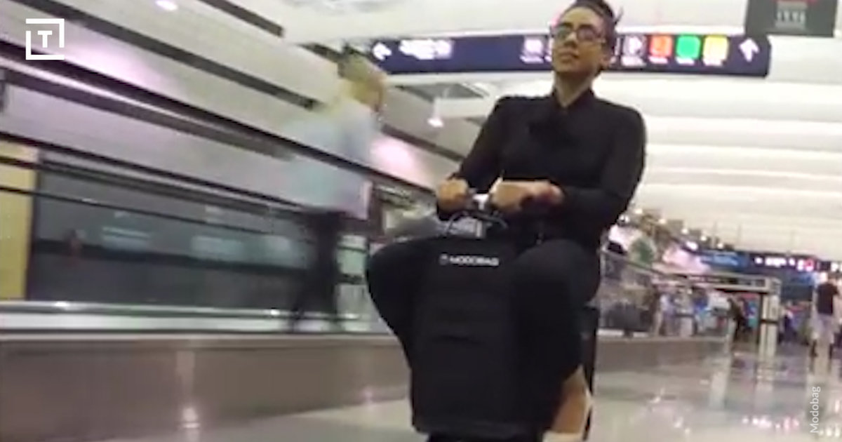 Modobag motorized carry on suitcase you can ride is for Motorized ride on suitcase
