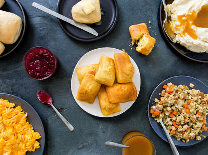 thanksgiving sides corn bread stuffing mashed potatoes side dish cranberry sauce mac and cheese rolls butter