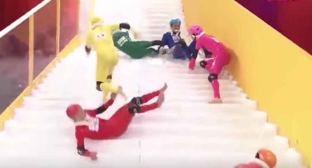 Elegant Slippery Stairs Japanese Game Show Video Is Wild And Hilarious   Thrillist