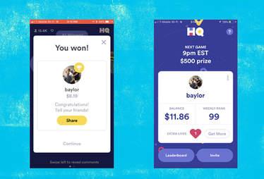 HQ Trivia win screen