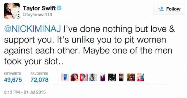 Taylor Swift Katy Perry Tweet