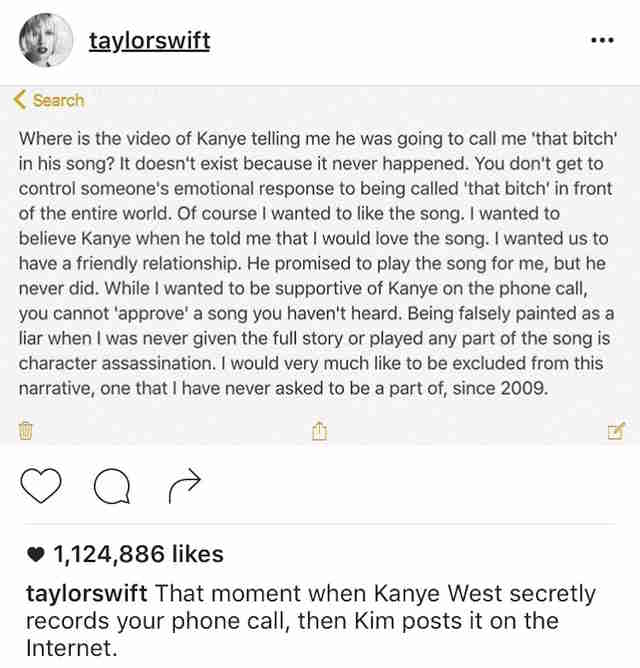 Taylor Swift Kim Kardashian Instagram