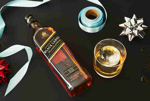 Bottle of Johnnie Walker Black Label with Spherical Ice Mold -Whiskey Gift Guide – Supercall
