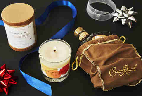 Bottle of Crown Royal Vanilla & a Whiskey Candle -Whiskey Gift Guide – Supercall