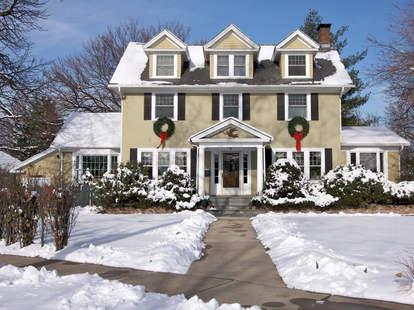 snowy house christmas