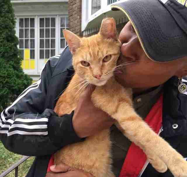 Woman hugging and kissing orange cat