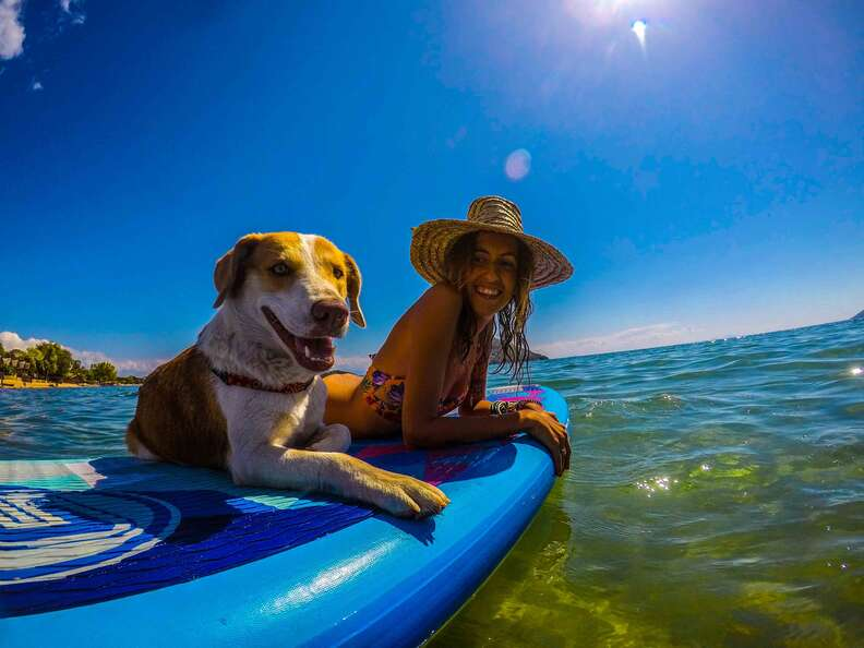 Dog and woman on paddleboard together
