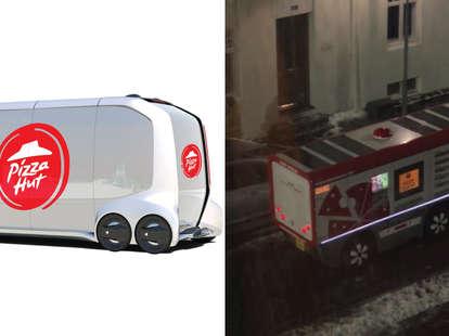 pizza hut automatic pizza delivery trucks
