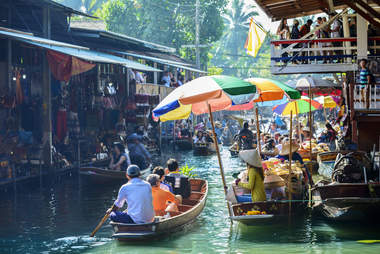 The Damnoen Saduak Floating Market in Bangkok, Thailand