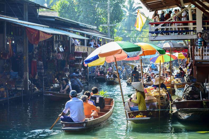 The Damnoen Saduak Floating Market in Bangkok, Thailand