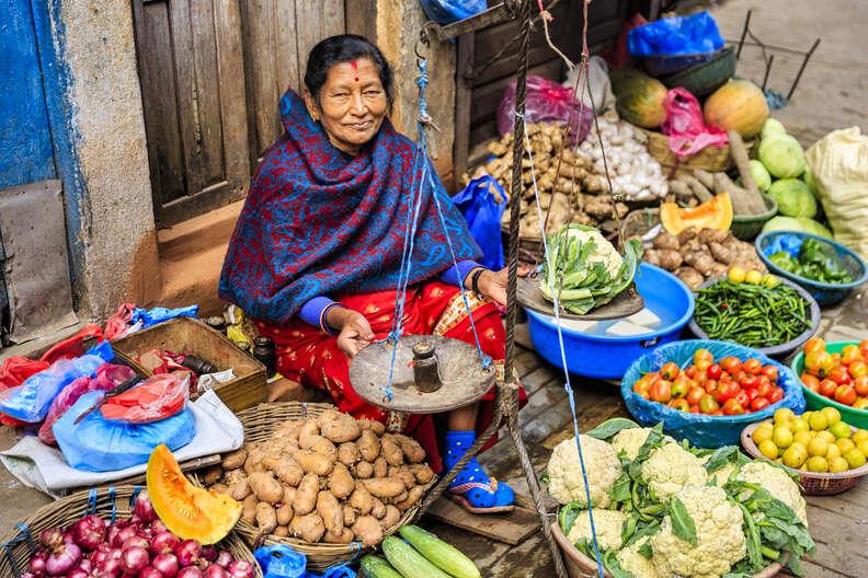 A food seller in Kathmandu, Nepal
