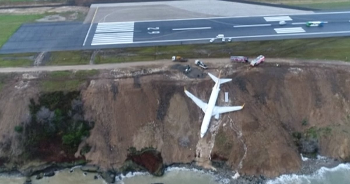 Plane Stops Halfway Down a Cliff After Terrifying Landing on Icy Runway