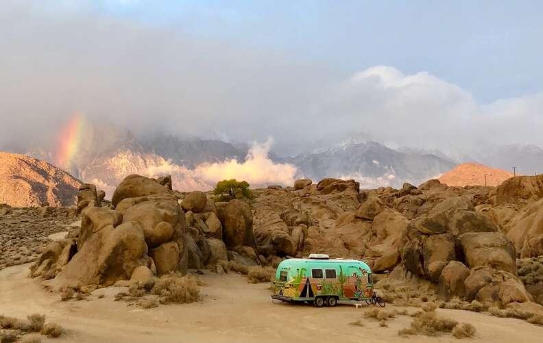 Vintage Airstream in desert