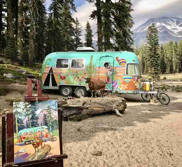 Painting of family traveling in Airstream with pet goat