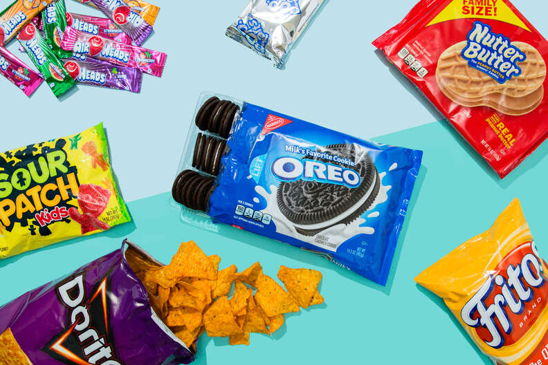 vegan snacks including oreos, sour patch kids, fritos, and nutter butters