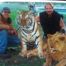 Men with captive big cats