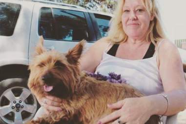 Rusty the dog with Heather in Snowtown, Australia
