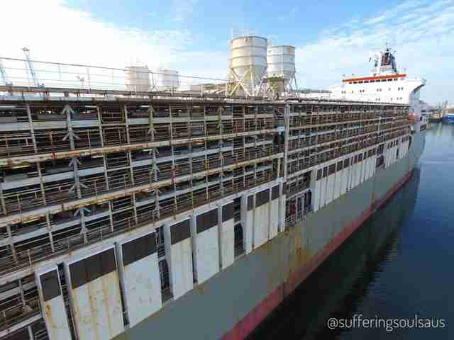 Live export ship docked in Australia