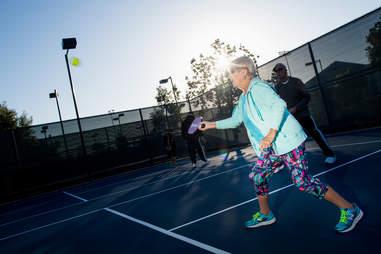 Senior playing paddle ball at Drayson Center in Loma Linda California