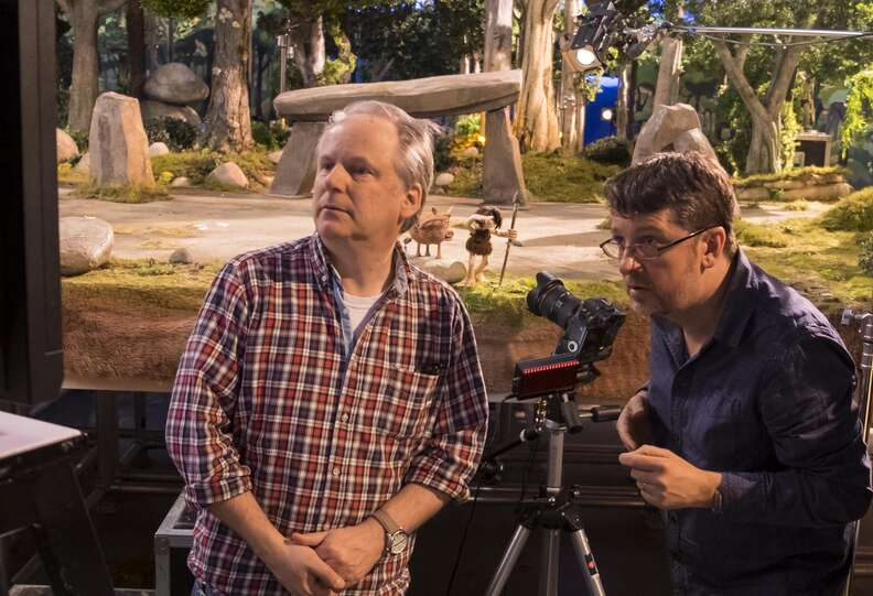 Nick Park on the set of 'Early Man'