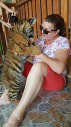 Woman bottle-feeding a tiger cub