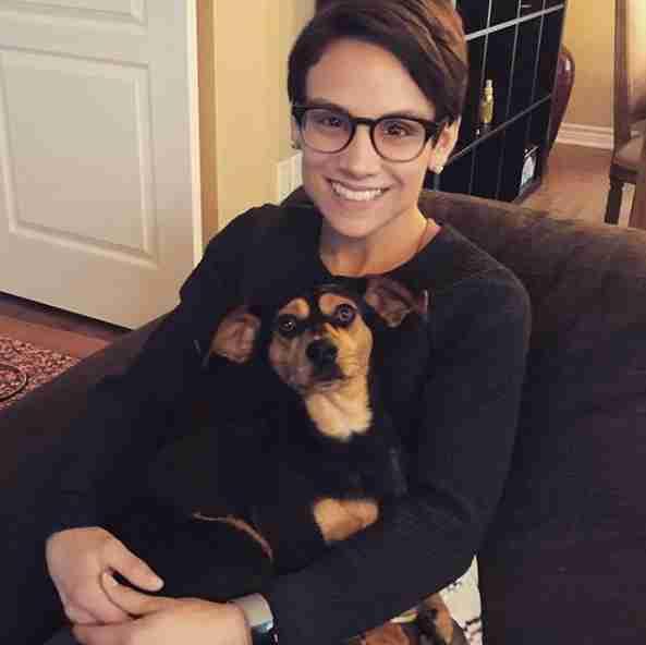 Meagan Duhamel with adopted Korean dog