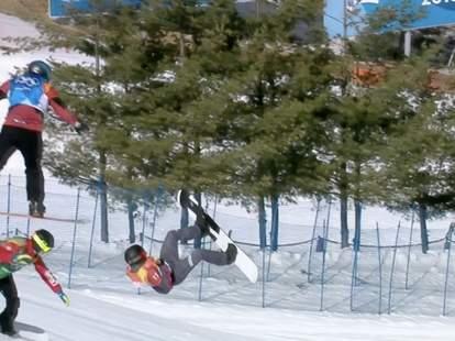 olympic snowboard crash video