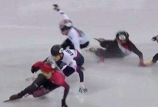 The U.S.'s Speed-Skating Medal Drought Ended When Almost an Entire Race Crashed