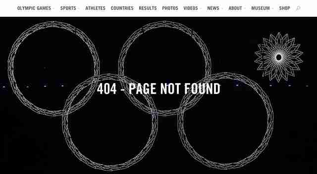 olympic website error