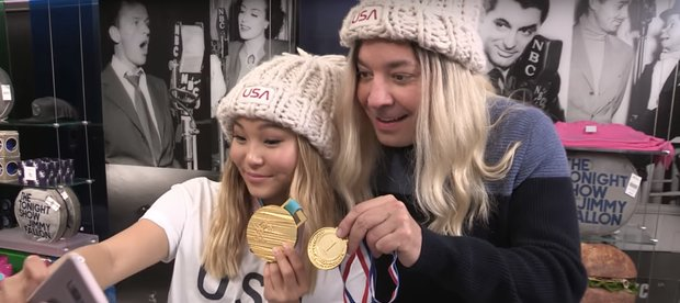 Chloe Kim Photobombed Olympics Fans With Jimmy Fallon