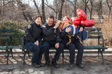NYPD officers take adoptable pit bull Orson to the park