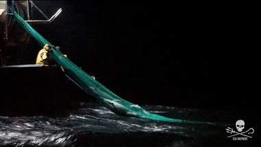 Fishermen pulling in trawling net from ocean