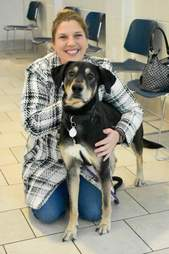 Zeus with owner Katherine Elliott
