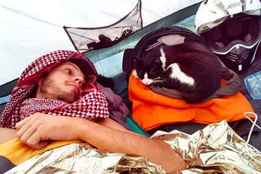 Martin Klauka and Mogli camping