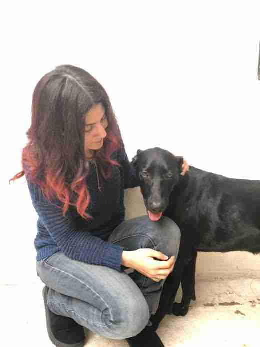 Woman petting rescued black dog